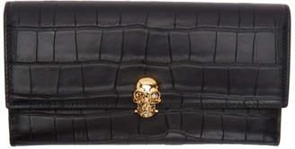 Alexander McQueen Black Croc Continental Wallet