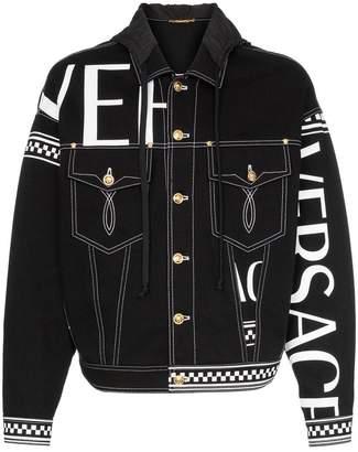 Versace (ヴェルサーチ) - Versace logo check print denim jacket