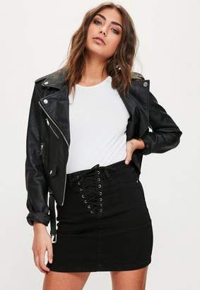 Missguided Black Lace Up Superstretch Mini Skirt