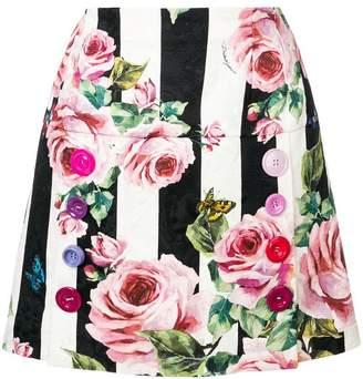 Dolce & Gabbana striped rose print mini skirt