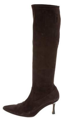 Manolo Blahnik Pointed-Toe Knee-High Boots