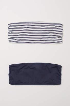 H&M 2-pack Bandeau Bras - Natural white/striped - Women