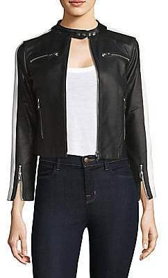 The Mighty Company The Mighty Company Women's Zip-Up Stripe Arm Leather Jacket