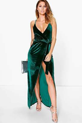 boohoo Pia Velvet Wrap Tie Maxi Dress