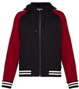 Burberry Logo Embroidered Neoprene Hooded Jacket - Mens - Navy