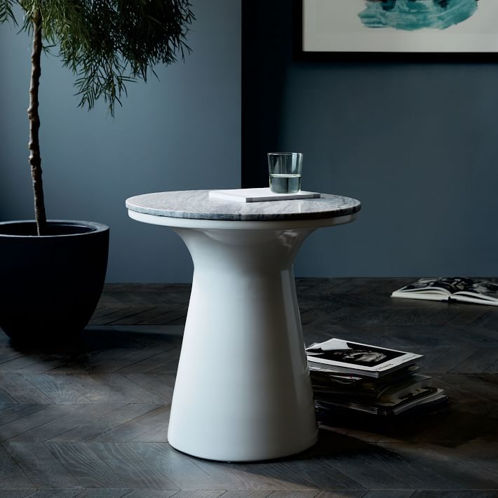 Marble-Topped Pedestal Side Table - Gray Marble/White