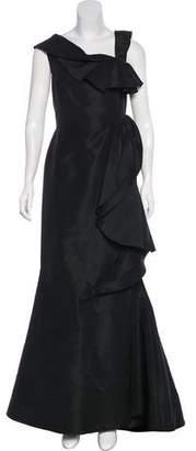 Oscar de la Renta Silk Ruffle-Trimmed Gown