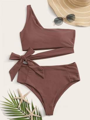 Shein One Shoulder Cut Out Tie Waist Bikini Set
