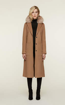 Soia & Kyo IVONNE-FX double face wool coat with removable fur collar