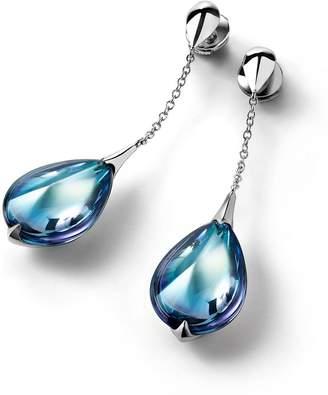 Baccarat Silver and Crystal Fleurs de Psydélic Stud Earrings