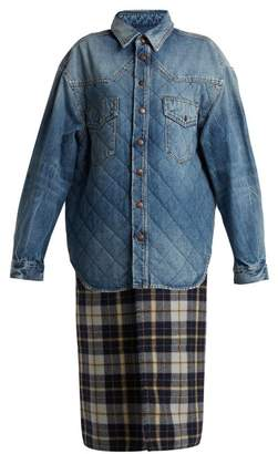 Balenciaga Plaid Quilted Denim Coat - Womens - Blue Multi