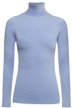 JoosTricot Roll Neck Cotton Blend Sweater - Womens - Light Blue