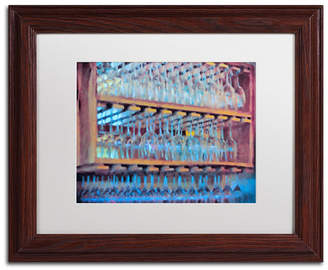 """Lois Bryan 'Drinks on the House in Electric Blue' Matted Framed Art - 11"""" x 14"""""""