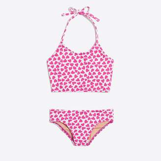 J.Crew Factory Girls' cropped tankini set in heart print