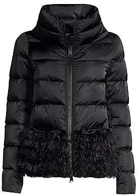 ca6713874 Women's Short Feather Hem Sateen Down Puffer Jacket
