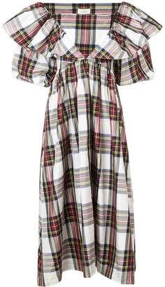 Isa Arfen checked puffy sleeves dres