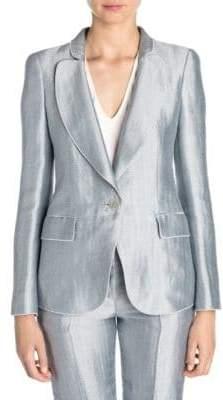 Giorgio Armani Women's Metallic Chevron Jacquard One-Button Blazer - Blue - Size 42 (6)