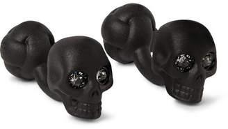 Alexander McQueen Skull Blackened Crystal Cufflinks