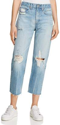 rag & bone/JEAN Distressed Straight-Leg Jeans in Shaker