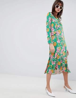 Asos Design DESIGN relaxed tea dress in bold floral print