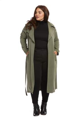 Twill Trench Coat - Olive, Plus Size