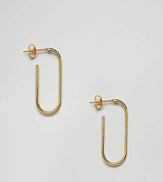 Asos Design Gold Plated Sterling Silver Oval Tube Hoop Earrings