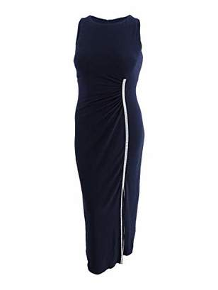 MSK Women's Long Cocktail Dress with Slit and Rhinestone Trim