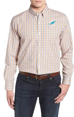 Cutter & Buck Miami Dolphins - Gilman Regular Fit Plaid Sport Shirt