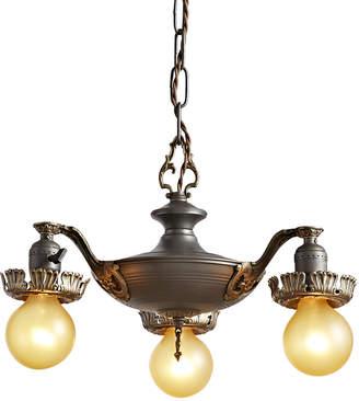 Rejuvenation Petite 3-Light Brass Bare Bulb Chandelier