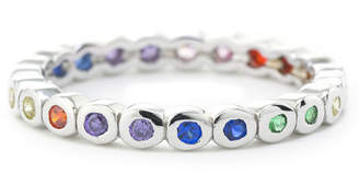 SILVER TREASURES Silver Treasures Bezel Set Rainbow - Womens Multi Color Sterling Silver Round Eternity Band