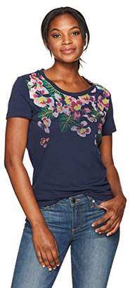 Margaritaville Women's Short Sleeve Tropical Parrot Crew Neck T-Shirt
