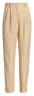 Alberta Ferretti Women's High-Waist Pleated Twill Trousers