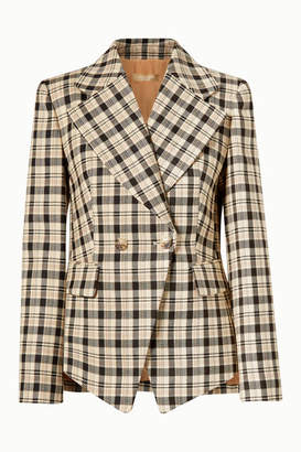 Michael Kors Double-breasted Checked Wool Blazer - Neutral