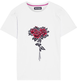 House of Holland Embroidered Cotton-jersey T-shirt - White