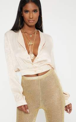 PrettyLittleThing Champagne Satin Button Front Crop Shirt