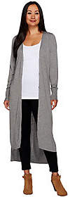 Halston H by Regular V-Neck Button Front LongCardigan