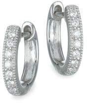 "Jude Frances Classic Diamond& 18K White Gold Huggie Hoop Earrings/0.5"""