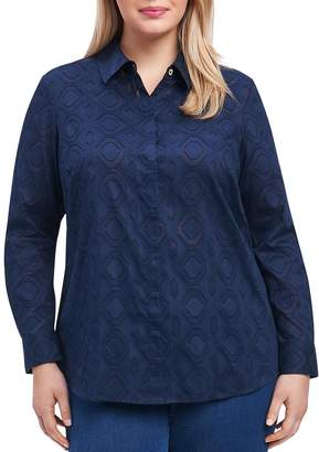 Foxcroft Plus Diamond Textured Blouse