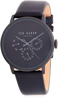 Ted Baker Men's Classic Stainless Steel and Leather-Strap Watch