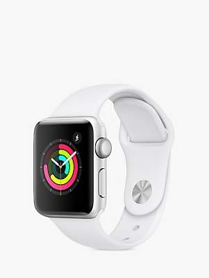 Apple Watch Series 3, GPS, 38mm Silver Aluminium Case with Sport Band, White