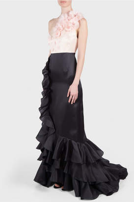 Andrew Gn One Shoulder Flower Gown