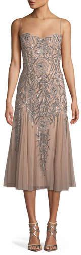 Aidan Mattox Sleeveless Beaded Midi Dress