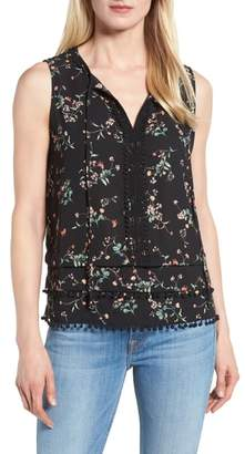 Gibson Embellished Floral Tie Neck Blouse