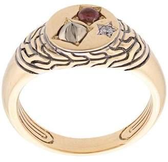 John Hardy Adwoa Aboah 18kt Yellow Gold and Mixed Stone Classic Chain Signet Pinky Ring