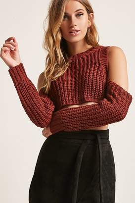 Forever 21 Ribbed Knit Open-Shoulder Crop Top