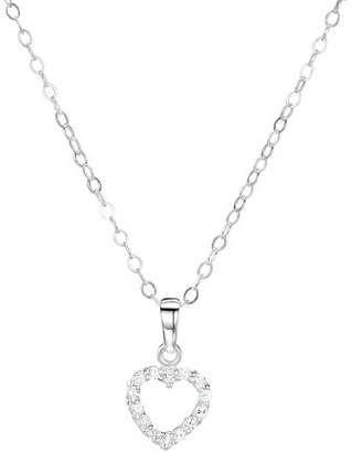 Jo for Girls Sterling Silver Open Cubic Zirconia Heart