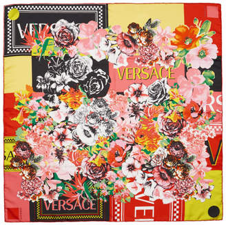 Versace Pink Silk Floral Mania Scarf