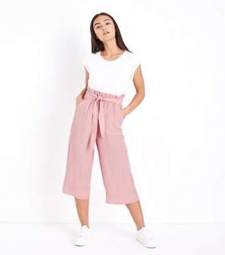 New Look Petite Pink Crinkle Plisse Tie Waist Culottes