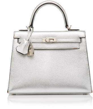 Hermes Heritage Auctions Special Collections 25cm Metallic Silver Chevre Leather Limited Edition Sellier Kelly