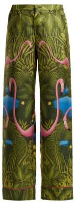 F.R.S – For Restless Sleepers F.r.s For Restless Sleepers - Etere Flamingo Print Silk Trousers - Womens - Green Print
